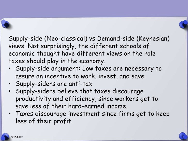 Supply-side (Neo-classical) vs Demand-side (Keynesian)views: Not surprisingly, the different schools ofeconomic thought ha...