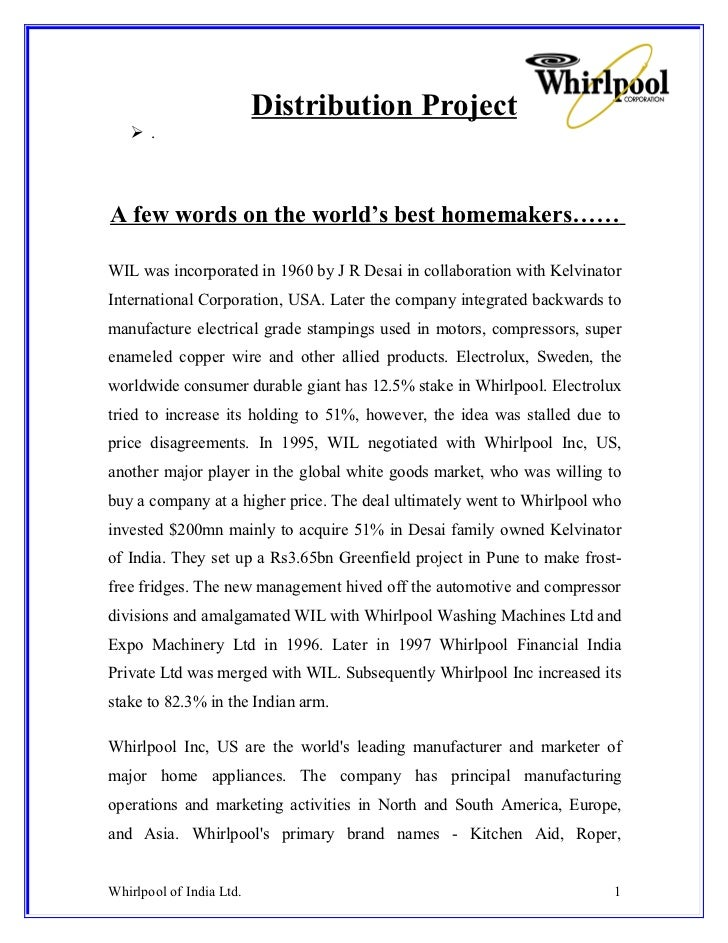 Distribution Project    .A few words on the world's best homemakers……WIL was incorporated in 1960 by J R Desai in collabo...