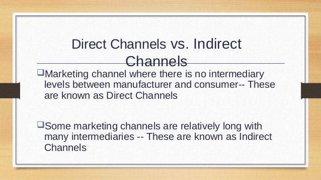 Direct Channel Retailer Channel Producer  Alternative Channels of Distributio n  Indirect Channels Wholesaler Channel  Age...