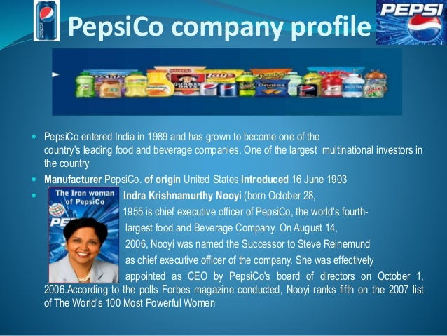 marketing strategy of pepsico Pepsico's strategic focus today's blog post is a repost from evaluate market performance lecturer, geoff fripp geoff has 25 years marketing experience working for organisations such as telstra and st george bank.