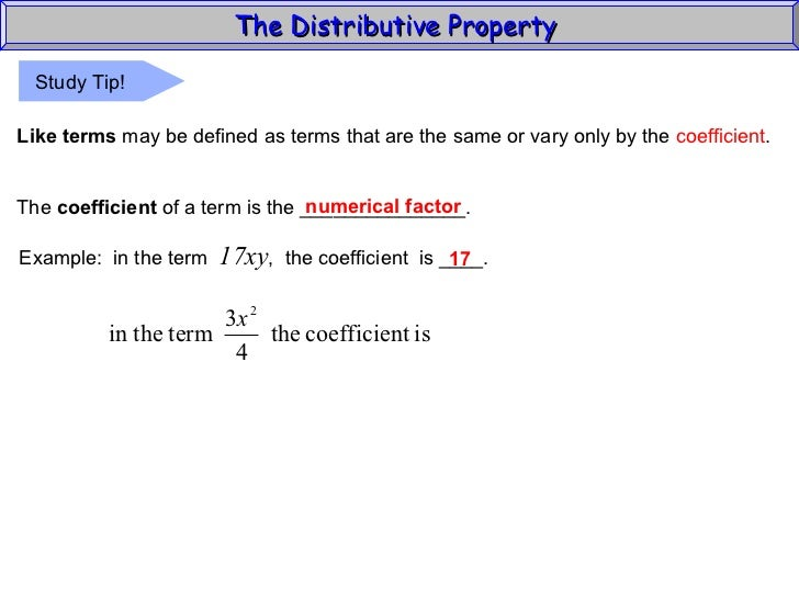 Distributive property algebra 1 70 the distributive property like terms ccuart Gallery