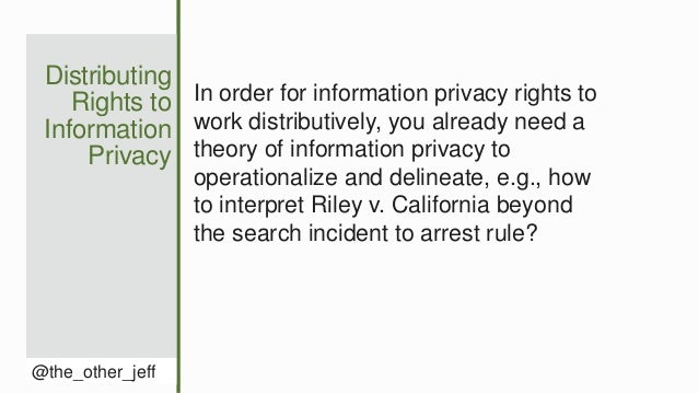 Distributing Rights to Information Privacy @the_other_jeff In order for information privacy rights to work distributively,...