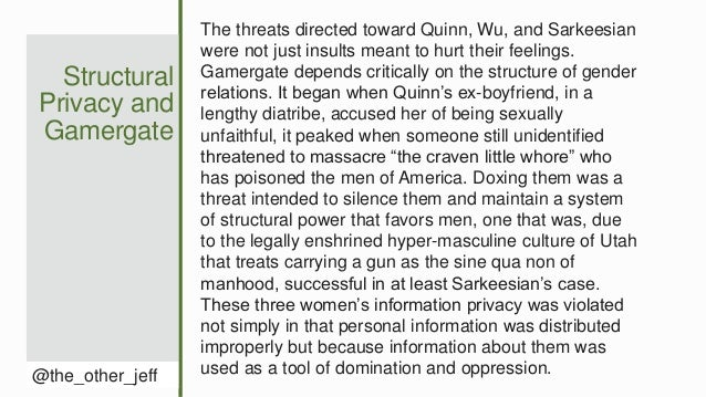 Structural Privacy and Gamergate @the_other_jeff The threats directed toward Quinn, Wu, and Sarkeesian were not just insul...