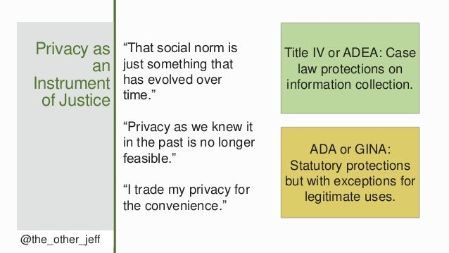 """Privacy as an Instrument of Justice @the_other_jeff """"That social norm is just something that has evolved over time."""" """"Priv..."""