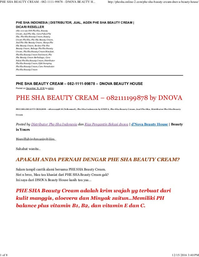 PHE SHA BEAUTY CREAM – 082-1111-99878 – DNOVA BEAUTY HOUSE Posted on December 15, 2016 by admin PHE SHA BEAUTY CREAM – 082...