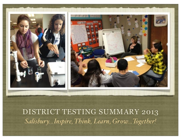 DISTRICT TESTING SUMMARY 2013 Salisbury...Inspire, Think, Learn, Grow...Together!
