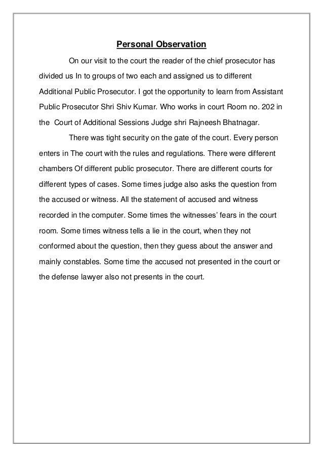 court observation report pdf