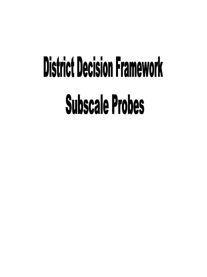 District Decision Framework  Subscale Probes