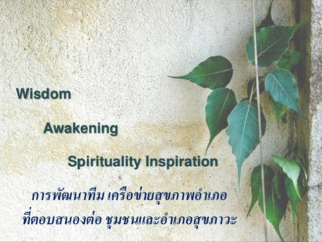 Wisdom   Awakening        Spirituality Inspiration    การพัฒนาทีม เครื อข่ ายสุขภาพอาเภอทีตอบสนองต่ อ ชุมชนและอาเภอสุขภาวะ...