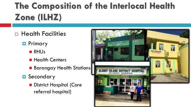 The Composition of the Interlocal Health Zone (ILHZ)  Health Facilities  Primary  RHUs  Health Centers  Barangay Heal...