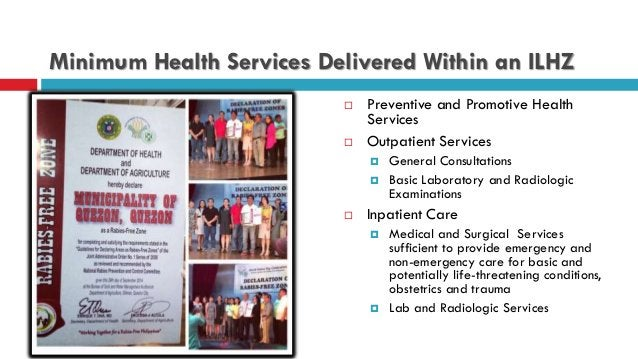 Minimum Health Services Delivered Within an ILHZ  Preventive and Promotive Health Services  Outpatient Services  Genera...