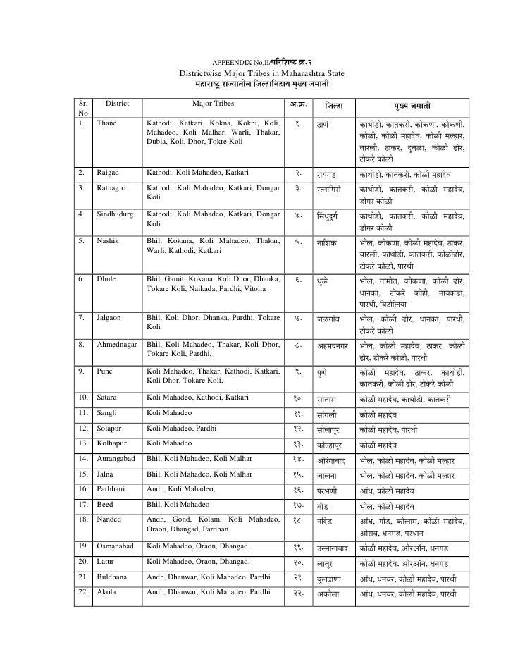 APPEENDIX No.II/¯ÖüÖ™ü          Îú.2                             Districtwise Major Tribes in Maharashtra State     ...