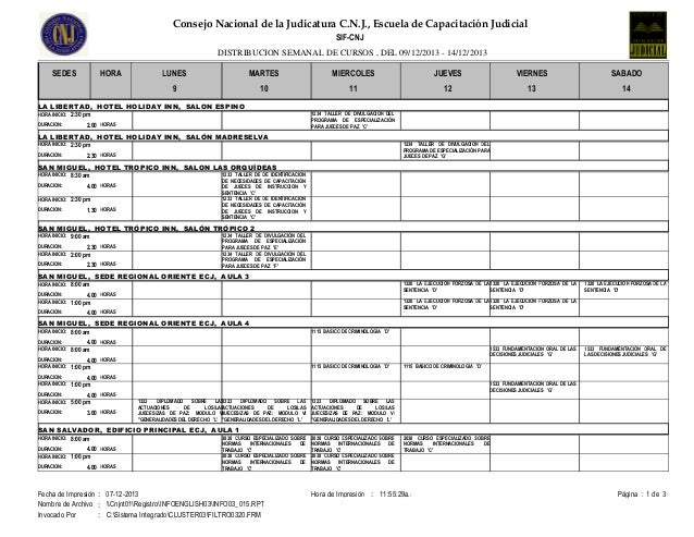 Consejo Nacional de la Judicatura C.N.J., Escuela de Capacitación Judicial SIF-CNJ DISTRIBUCION SEMANAL DE CURSOS , DEL 09...