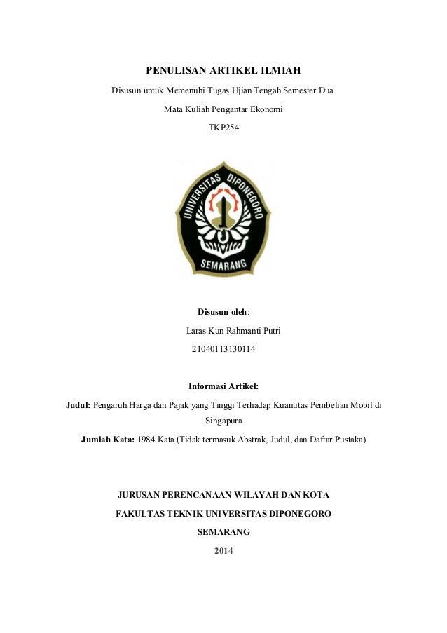 Penulisan Artikel Ilmiah Pengantar Ekonomi Smt 2