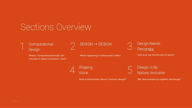 "1 Computational Design 32 5 Sections Overview What is ""Computational Design"" and why does it matter to business + tech? DE..."
