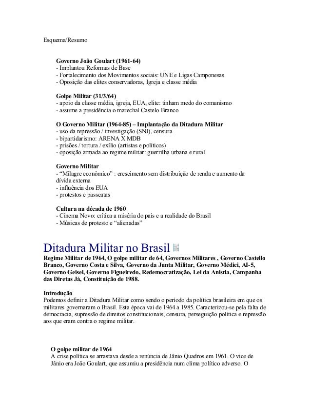Esquema/Resumo Governo João Goulart (1961-64) - Implantou Reformas de Base - Fortalecimento dos Movimentos sociais: UNE e ...