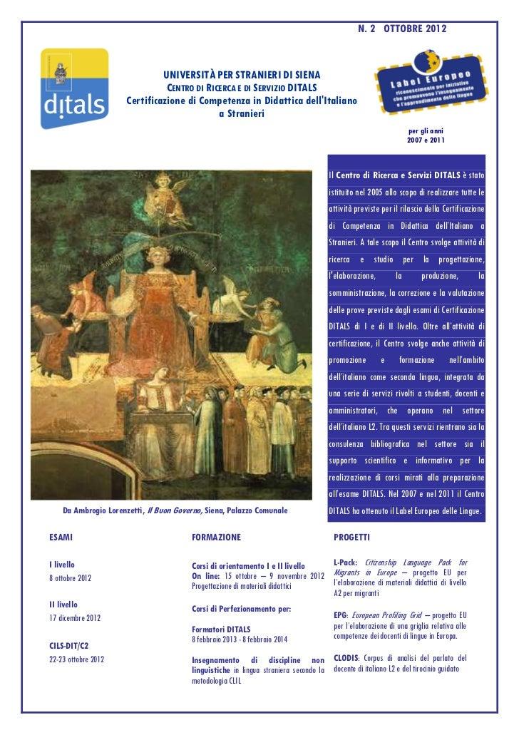 N. 2 OTTOBRE 2012                               UNIVERSITÀ PER STRANIERI DI SIENA                                CENTRO DI...