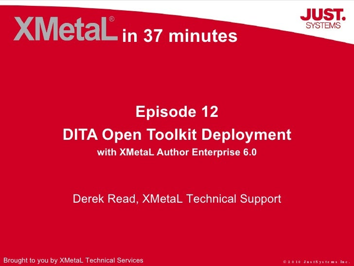 DITA Open Toolkit Deployment with XMetaL Author Enterprise 6