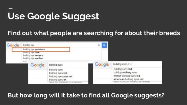 Visualizes Google suggestions by question words. Answerthepublic.com