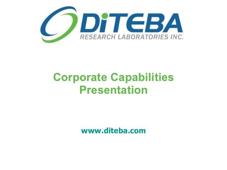 Corporate Capabilities Presentation www.diteba.com
