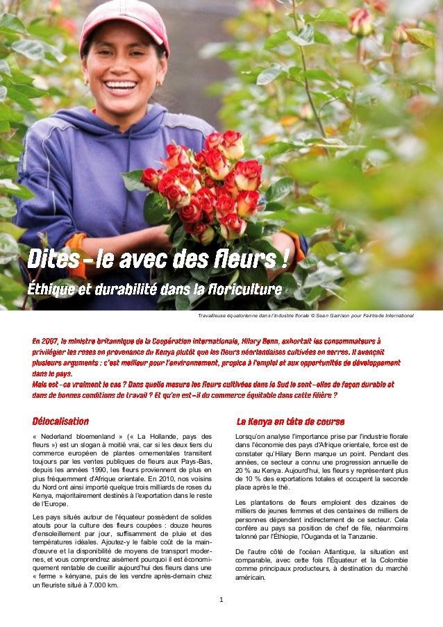 1 Travailleuse équatorienne dans l'industrie florale © Sean Garrison pour Fairtrade International « Nederland bloemenland ...