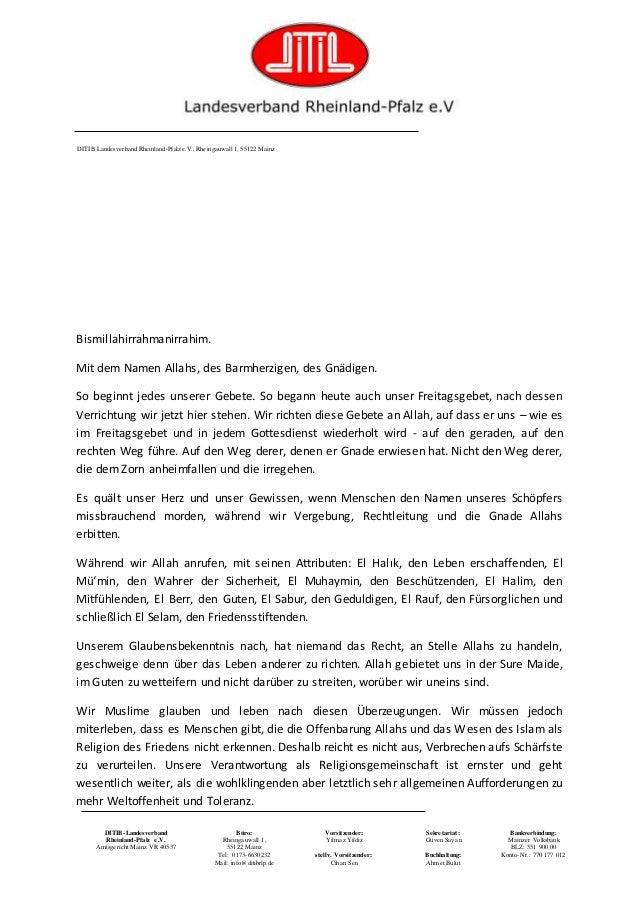 DITIB-Landesverband Rheinland-Pfalz e.V. Amtsgericht Mainz VR 40537 Büro: Rheingauwall 1, 55122 Mainz Tel: 0173-6630232 Ma...