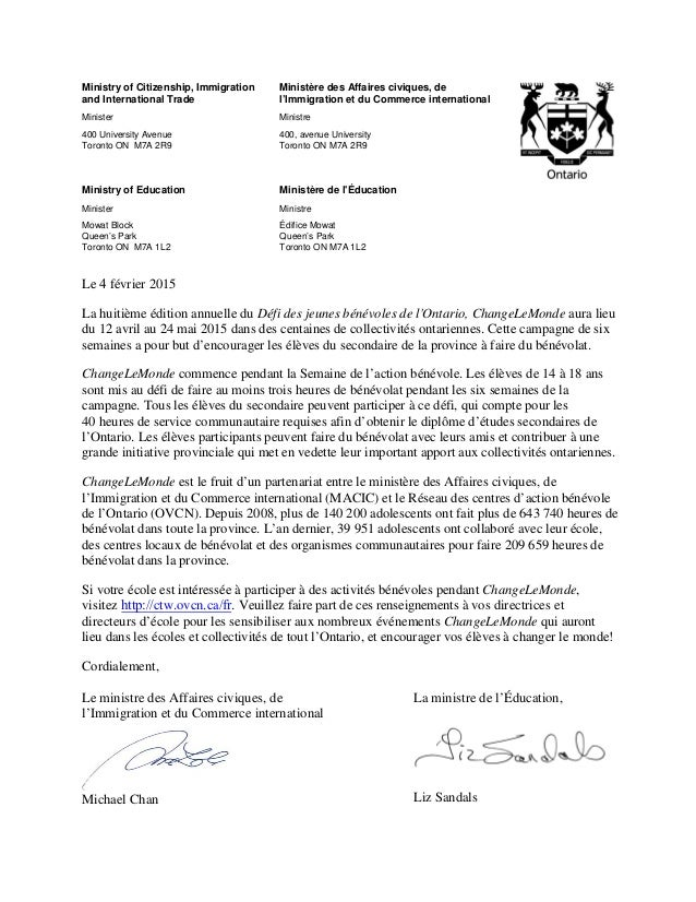 Ministry of Citizenship, Immigration and International Trade Minister 400 University Avenue Toronto ON M7A 2R9 Ministère d...