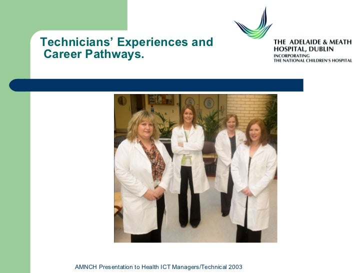 Technicians' Experiences and  Career Pathways. AMNCH Presentation to Health ICT Managers/Technical 2003