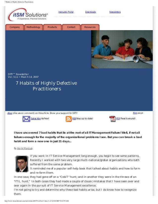 7 Habits of Highly Defective Practitioners  Instructor Portal  Downloads  Newsletters  -----------------------------------...