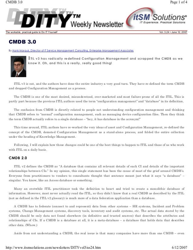 CMDB 3.0  Page 1 of 4  The workable, practical guide to Do IT Yourself  Vol. 3.24 • June 12, 2007  CMDB 3.0 By Hank Marqui...