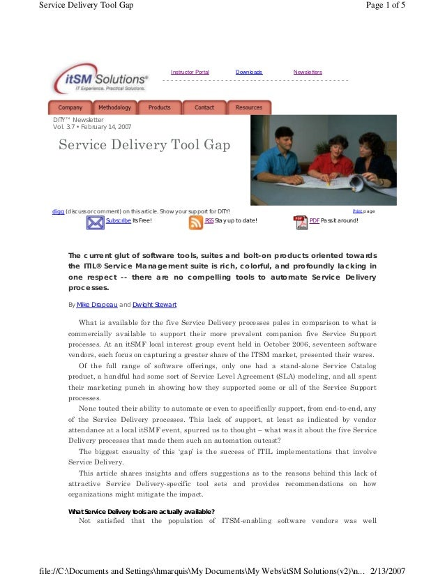 Service Delivery Tool Gap  Page 1 of 5  Instructor Portal  Downloads  Newsletters  ---------------------------------------...