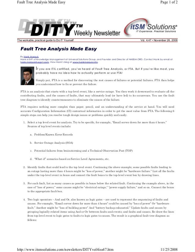 Fault Tree Analysis Made Easy  The workable, practical guide to Do IT Yourself  Page 1 of 2  Vol. 4.47 • November 26, 2008...