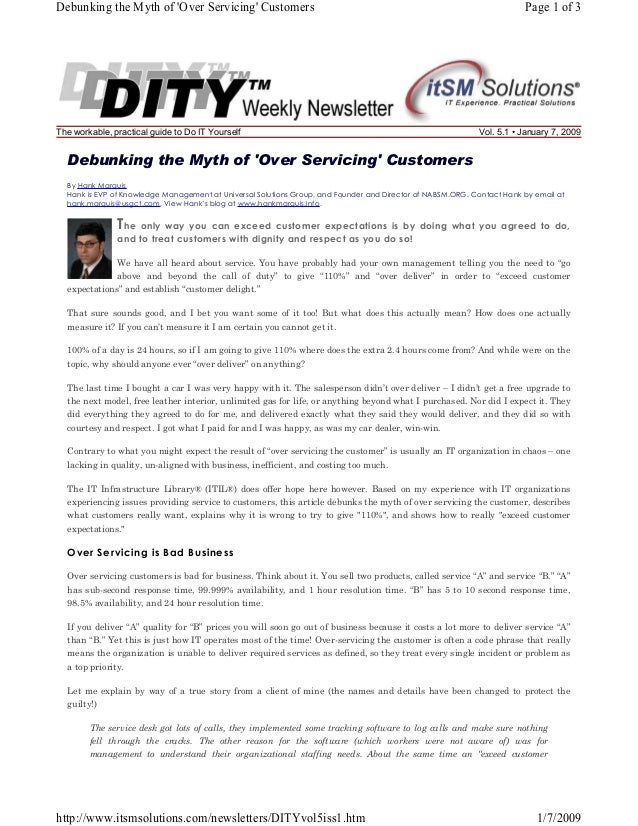Debunking the Myth of 'Over Servicing' Customers  The workable, practical guide to Do IT Yourself  Page 1 of 3  Vol. 5.1 •...