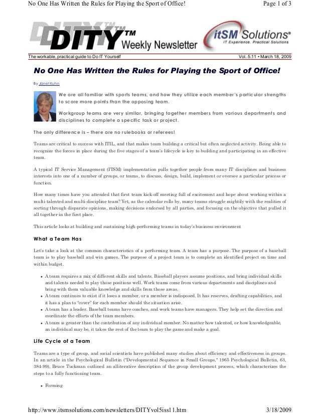 No One Has Written the Rules for Playing the Sport of Office!  The workable, practical guide to Do IT Yourself  Page 1 of ...