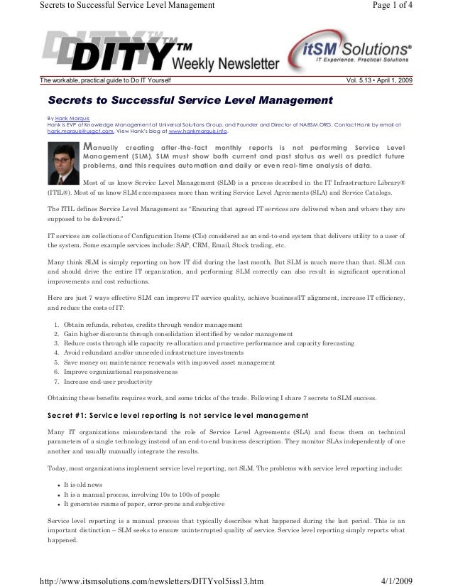 Secrets to Successful Service Level Management  The workable, practical guide to Do IT Yourself  Page 1 of 4  Vol. 5.13 • ...