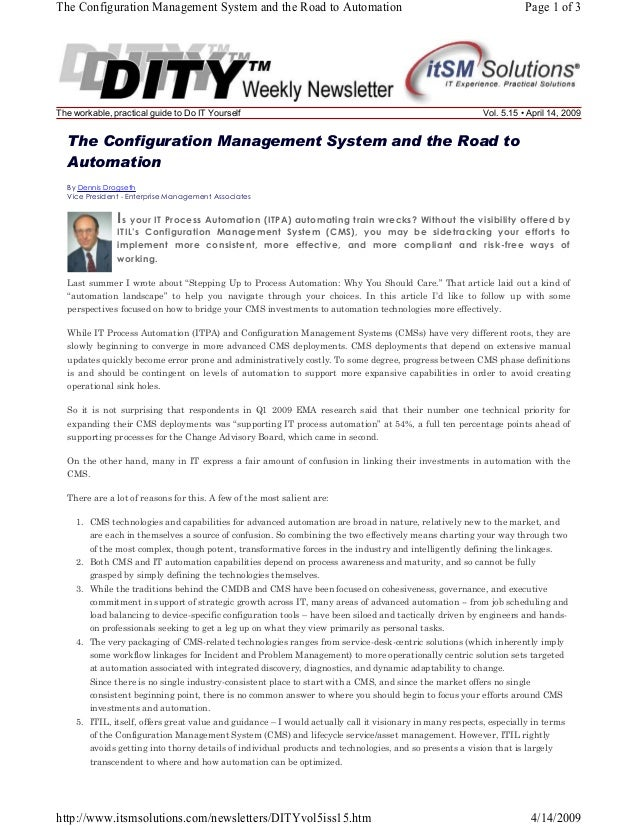 The Configuration Management System and the Road to Automation  The workable, practical guide to Do IT Yourself  Page 1 of...
