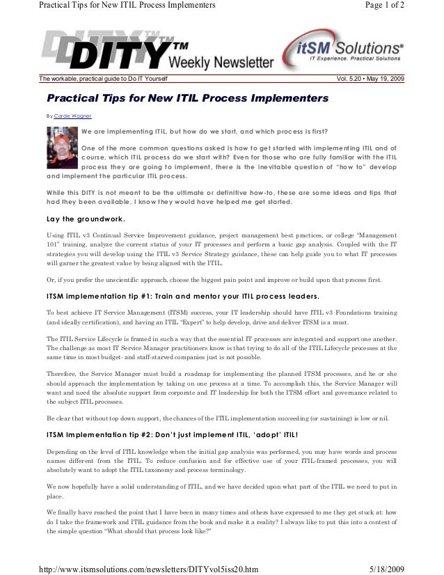 Practical Tips for New ITIL Process Implementers  The workable, practical guide to Do IT Yourself  Page 1 of 2  Vol. 5.20 ...