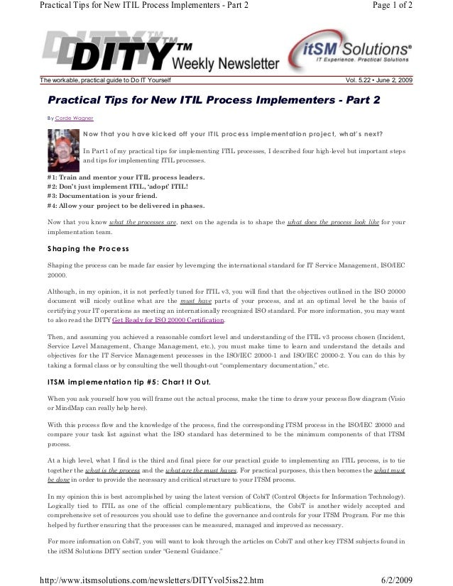 Practical Tips for New ITIL Process Implementers - Part 2  The workable, practical guide to Do IT Yourself  Page 1 of 2  V...