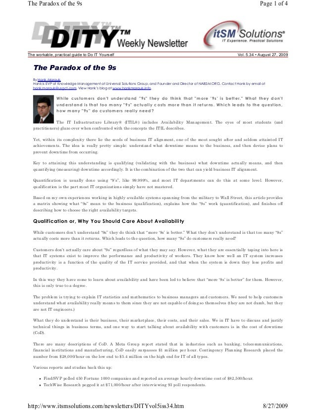 The Paradox of the 9s  The workable, practical guide to Do IT Yourself  Page 1 of 4  Vol. 5.34 • August 27, 2009  The Para...