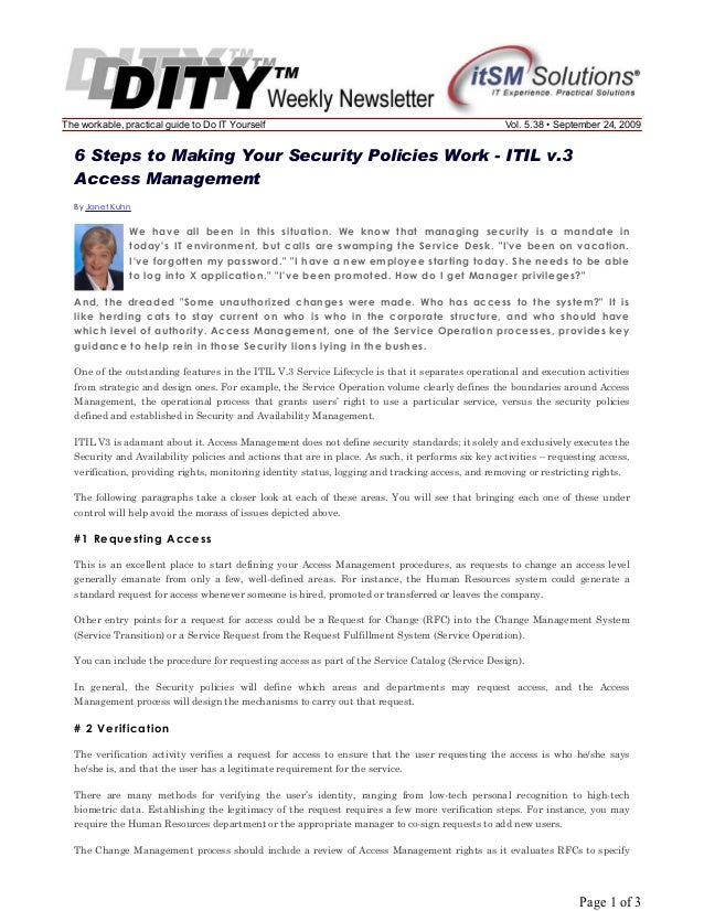 The workable, practical guide to Do IT Yourself  Vol. 5.38 • September 24, 2009  6 Steps to Making Your Security Policies ...