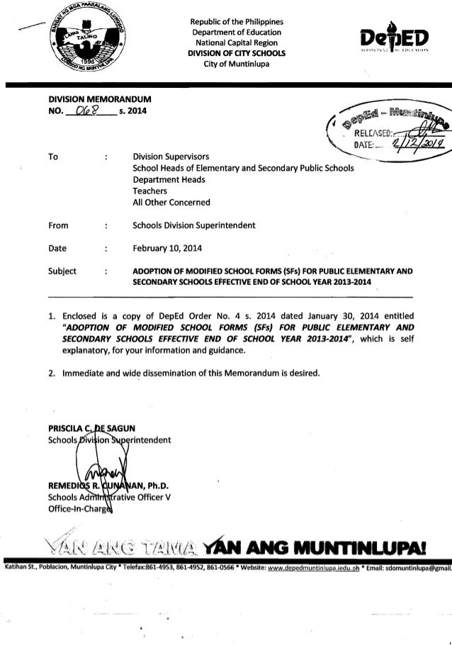 Republic of the Philippines   Department of Education   National Capital Region   DIVISION OF CITY SCHOOLS   City of Munti...
