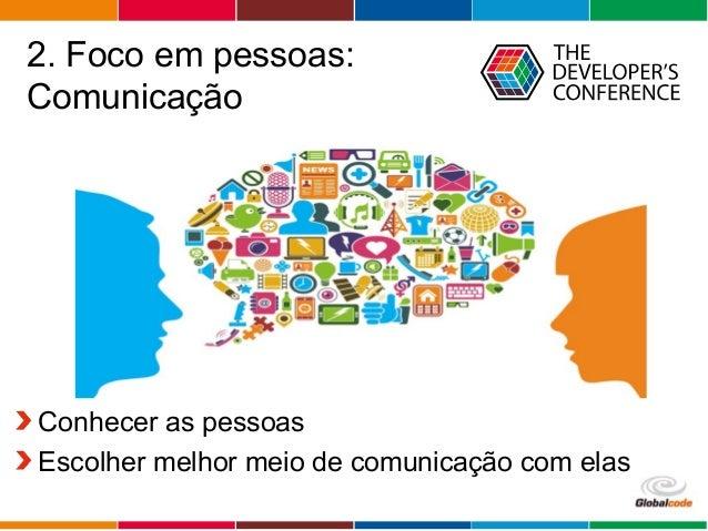 Globalcode – Open4education 2. Foco em pessoas: Comunicação Conhecer as pessoas Escolher melhor meio de comunicação com el...