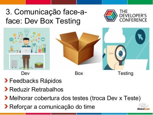 Globalcode – Open4education 3. Comunicação face-a- face: Dev Box Testing Feedbacks Rápidos Reduzir Retrabalhos Melhorar co...