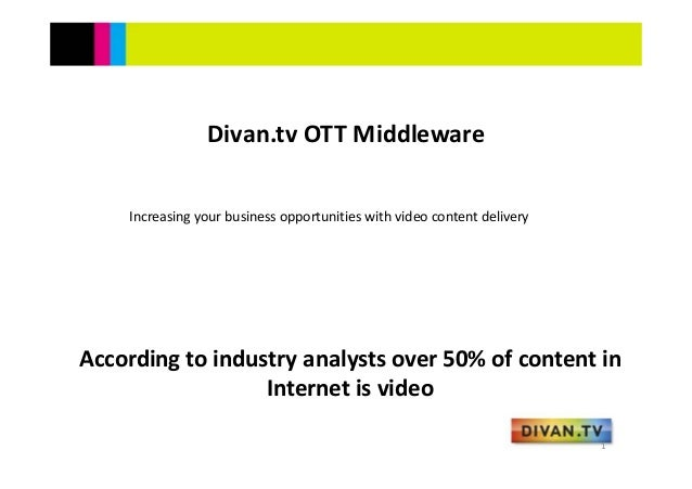 According to industry analysts over 50% of content in Internet is video Divan.tv OTT MiddlewareIncreasing your business op...