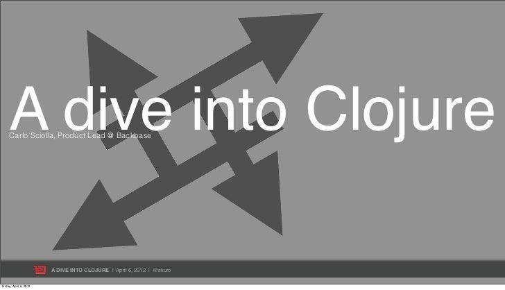 A dive into Clojure     Carlo Sciolla, Product Lead @ Backbase                        A DIVE INTO CLOJURE | April 6, 2012 ...