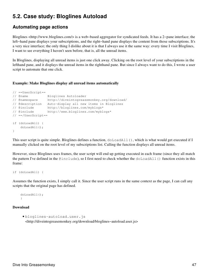 5.2. Case study: Bloglines Autoload Automating page actions  Bloglines <http://www.bloglines.com/> is a web−based aggregat...
