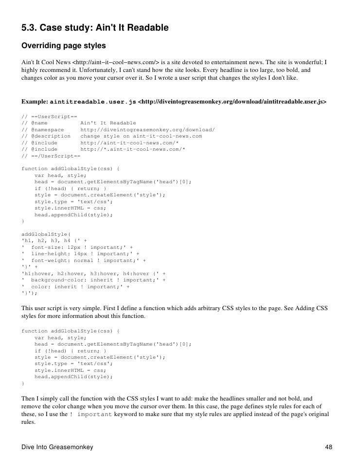 5.3. Case study: Ain't It Readable Overriding page styles  Ain't It Cool News <http://aint−it−cool−news.com/> is a site de...