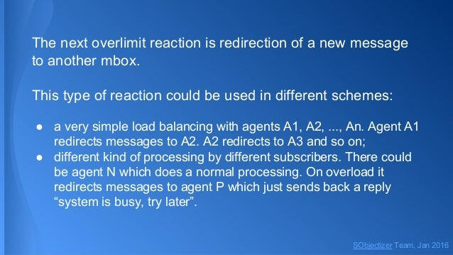 The next overlimit reaction is redirection of a new message to another mbox. This type of reaction could be used in differ...
