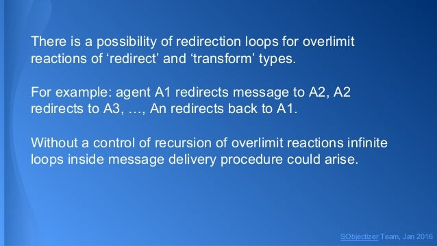 There is a possibility of redirection loops for overlimit reactions of 'redirect' and 'transform' types. For example: agen...