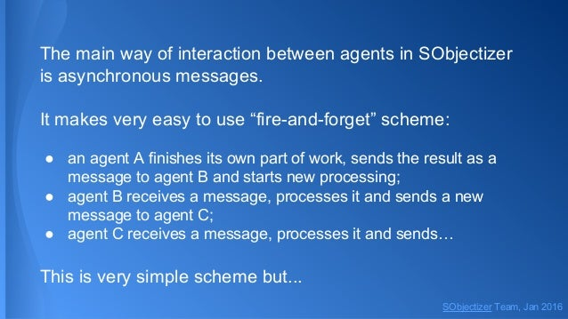 """The main way of interaction between agents in SObjectizer is asynchronous messages. It makes very easy to use """"fire-and-fo..."""